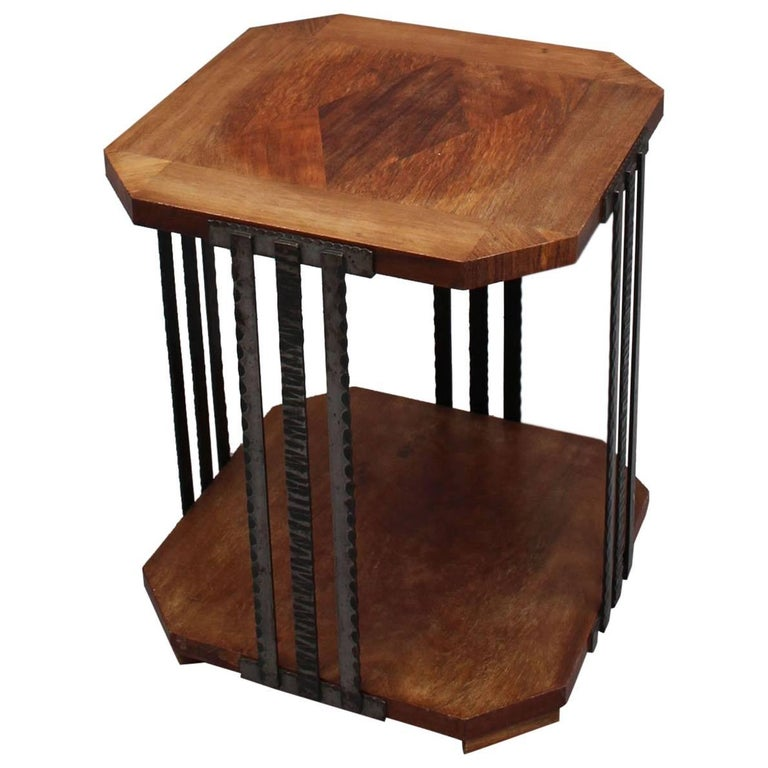 A Fine French Art Deco Wrought Iron and Walnut Gueridon For Sale