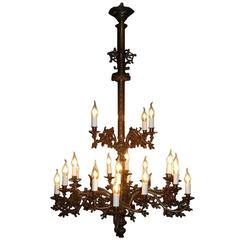 19th Century Gothic Brass Chandelier