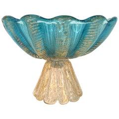 Ercole Barovier Murano Italian Art Glass Footed Compote Bowl