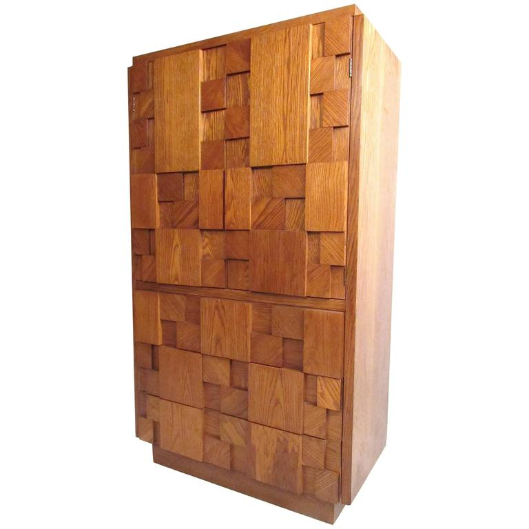 Mid-Century Brutalist Armoire by Lane