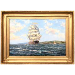 """Clipper in the Bay"" Marine Painting by Henry Scott"