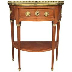 18th-19th Century Louis XVI Style Marble-Top and Brass-Mounted Mahogany Console