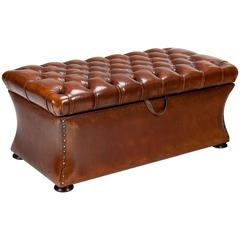 Quality 19th Century Shaped Leather Ottoman