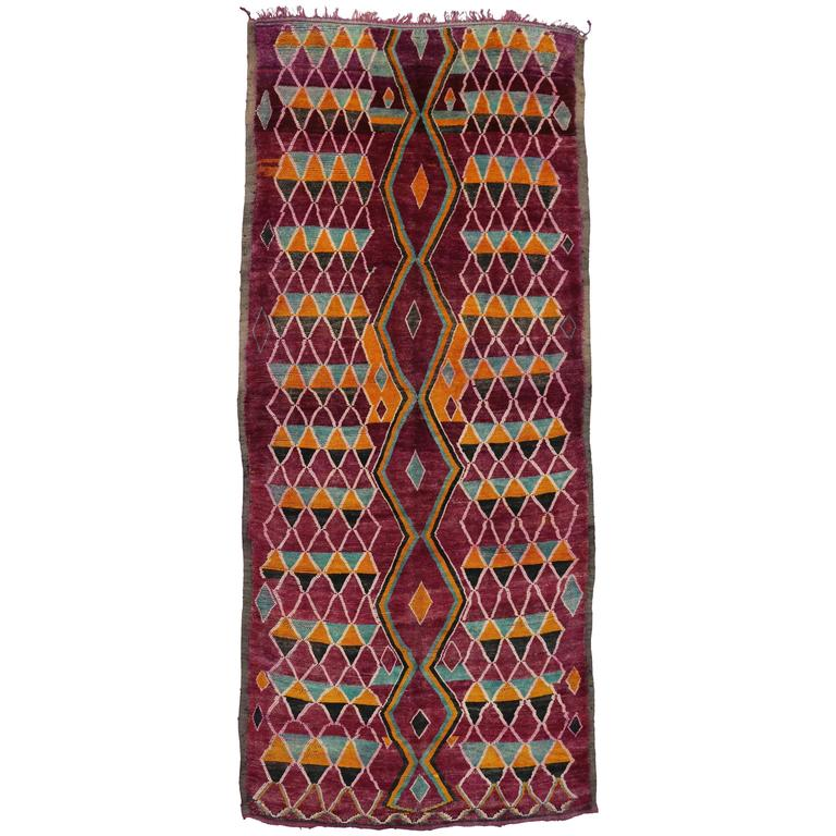 Raspberry Vintage Berber Moroccan Rug with Modern Tribal Style