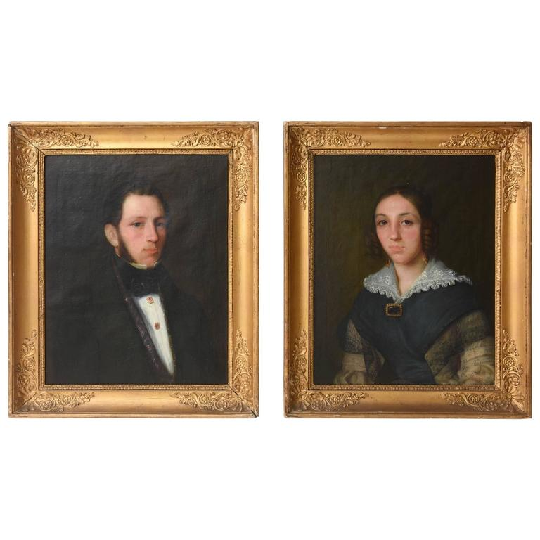 Pair of antique portraits connecticut circa 1840 original frames for sale at 1stdibs - Italian garden design ideas to make exquisite roman era garden ...