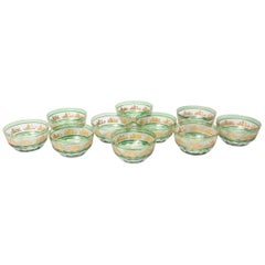 Set of Ten Green Glass Gilt Dessert Bowls, Val Saint Lambert, circa 1920s
