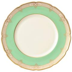 12 Pretty Green and Gold Dinner Plates Antique