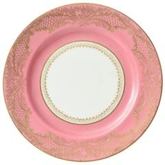 12 Pink and Heavily Gilded Antique English Dessert Plates, Custom Ordered