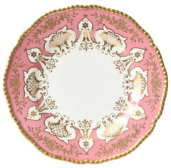 12 Dinner or Presentation Plates, Antique English Pink Heavily Gilded, Coalport