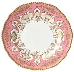12 Dinner or Presentation Plates, Antique English Pink Heavily Gilded, Coalport