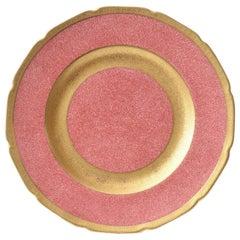 12 Pink with Elaborate Gilt Band Dessert or Salad Plates, Antique