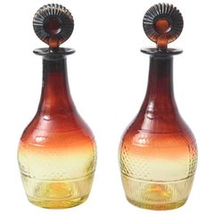 Pair of Sherry Decanters and Original Stoppers, Amber