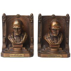 Pair of Vintage Brass Shakespeare Book Ends, Signed