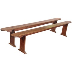Pair of Long Oak Meeting Benches