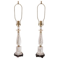 Pair of Rock Crystal Lamps with Brass Fittings