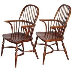 Pair of Two Georgian Style Horseshoe Back Oak Windsor Armchairs