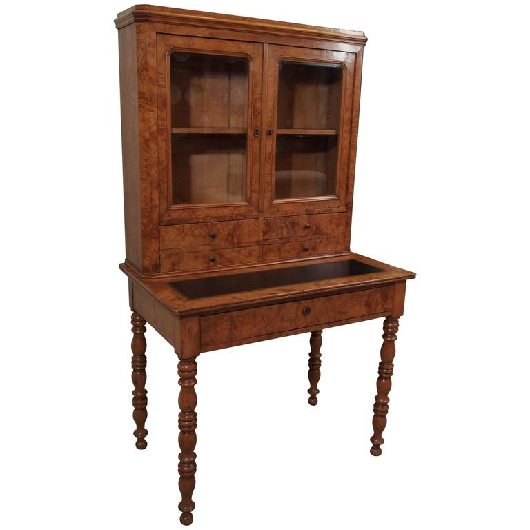 Antique French Louis Philippe Burled Elm Writing Table or Secretaire For Sale
