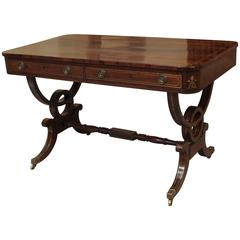 Antique English Regency Rosewood Writing Table, Saber Legs, Brass Inlay