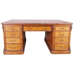 Large William IV Walnut Partners Desk