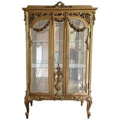19th Century French Louis XVI Style Giltwood Vitrine