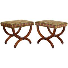 Pair of French Late Neoclassical Walnut Curule-Form Benches, Mid-19th Century