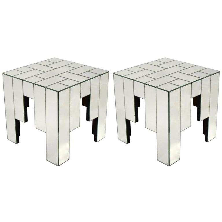 Pair of Mirrored Side Tables Designed by Jaques Grange for Carl, 1975, France For Sale