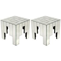 Pair of Mirrored Side Tables Designed by Jaques Grange for Carl, 1975, France