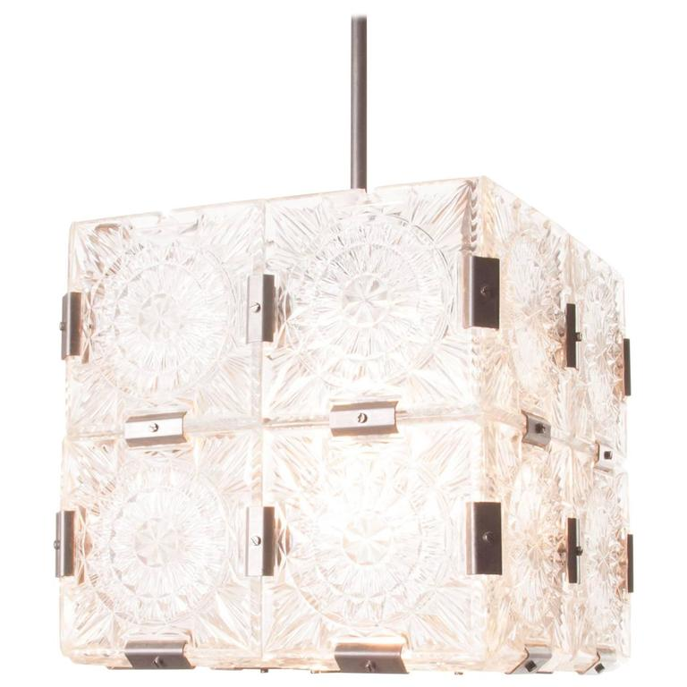 1960s Cubic Glass and Steel Pendant Light