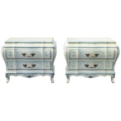 Pair of Karges Paint Decorated Bombe Commodes
