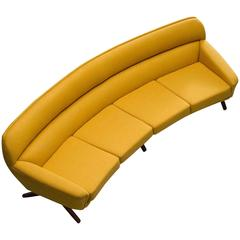 Reupholstered Curved Sofa by Leif Hansen, Denmark