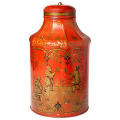 Chinoiserie Painted Metal Tea Canister with Gilt Details