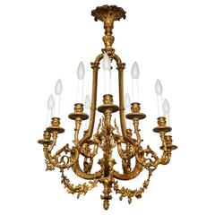 French Louis XVI Style Gilt Bronze Eight-Light Chandelier
