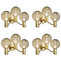 Set of Four Hans-Agne Jakobsson Wall Lights in Brass