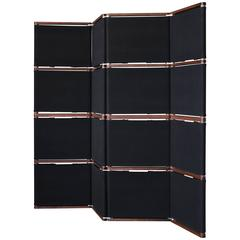 Lambert Folding Screen or Room Divider in Black Canvas and Oiled Walnut