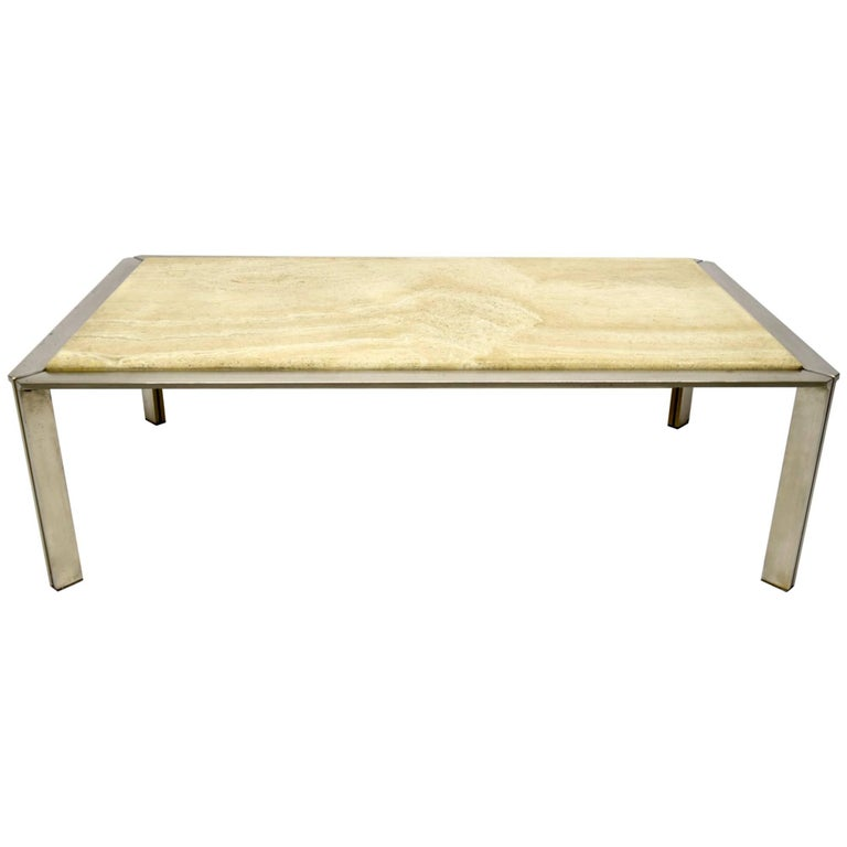Steel Coffee Table with a Travertine Top circa 1970, made in France