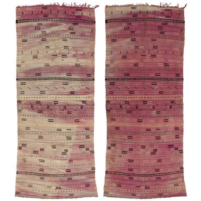 Reversible Vintage Moroccan Flatweave Kilim Rug with Stripes