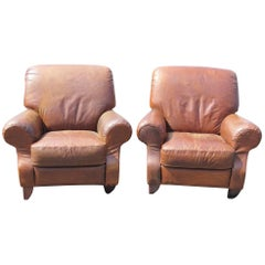 Pair of Distressed Leather Lounge Chairs