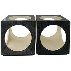 Pair of Modern Circles in Squares Cerused Glass Top Cube Side Tables