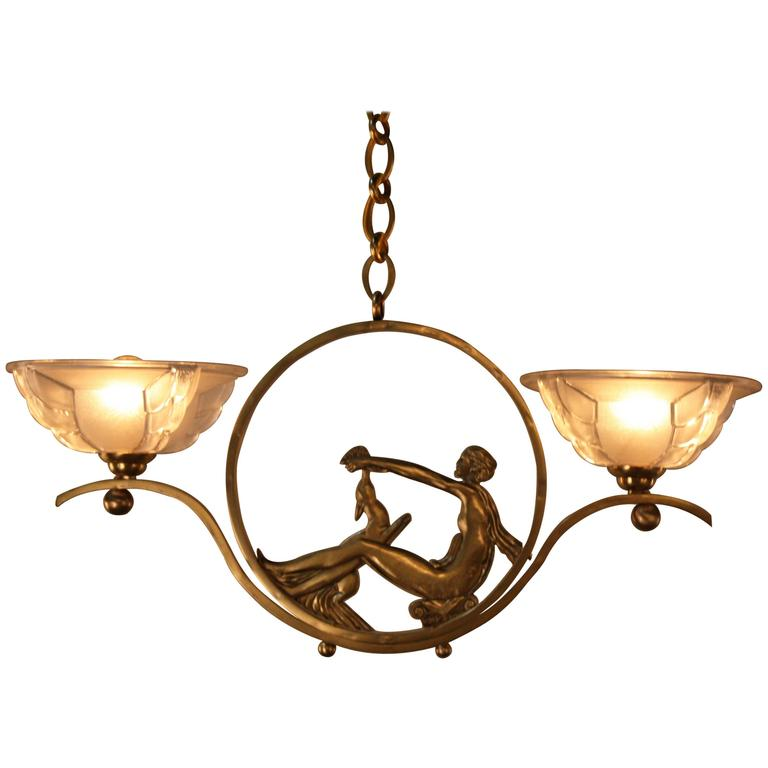 French Art Deco Bronze and Glass Chandelier 1