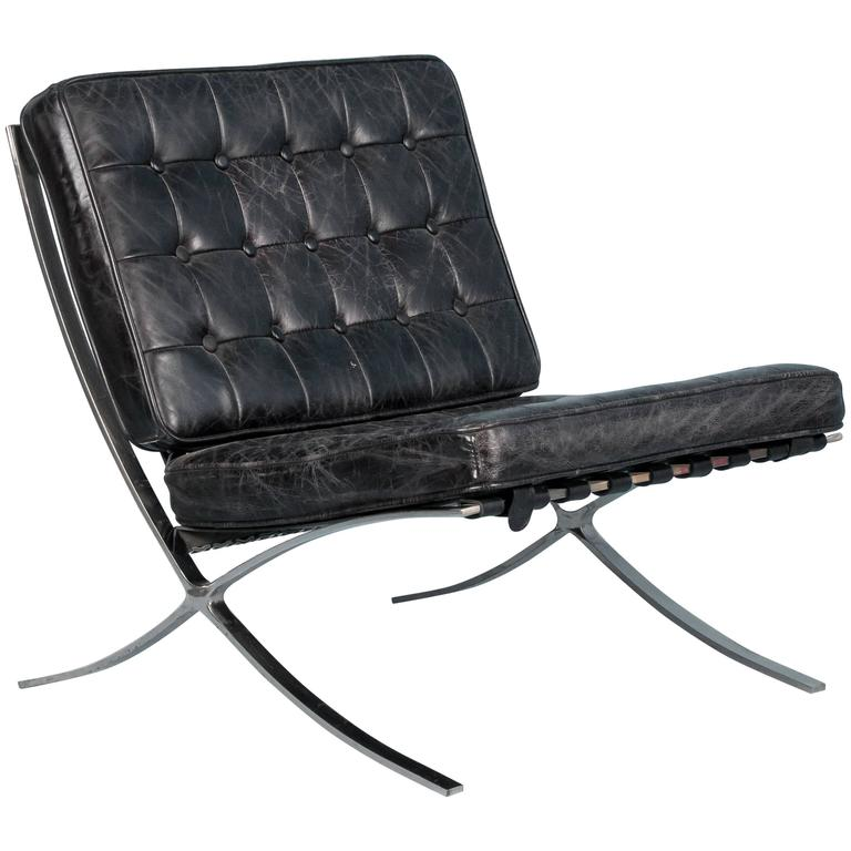 Black Leather Barcelona Style Chair With Chrome Legs At
