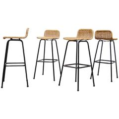 Set of Four Charlotte Perriand Style Wicker Bar Stools