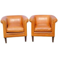 Pair of Bernhardt Brown Leather Club Chairs
