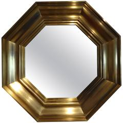 French Octagonal Brass Mirror by Michel Pigneres