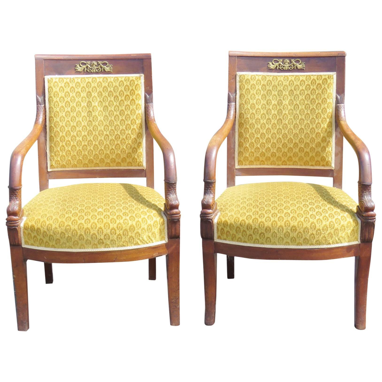 Pair of Antique French Empire Style Fauteuils wArm Chairs with Bronze Ormolu