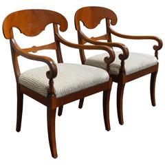 Pair of Swedish Biedermeier Revival Napoleon Hat Armchairs