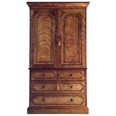 Antique Linen Press Wardrobe Dresser W. Bertram Satin Birch Victorian circa 1870