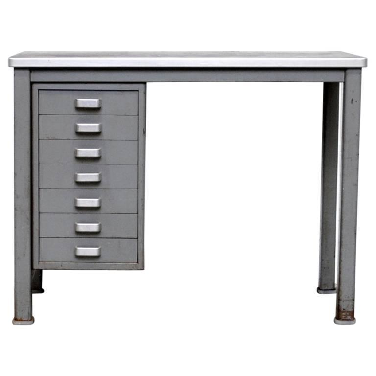Small Dutch Metal Industrial Desk For Sale