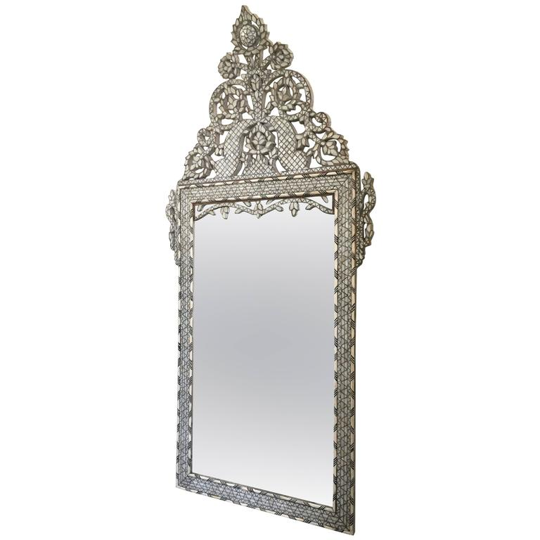 Late 19th Century Moroccan Bone Inlaid Mirror For Sale