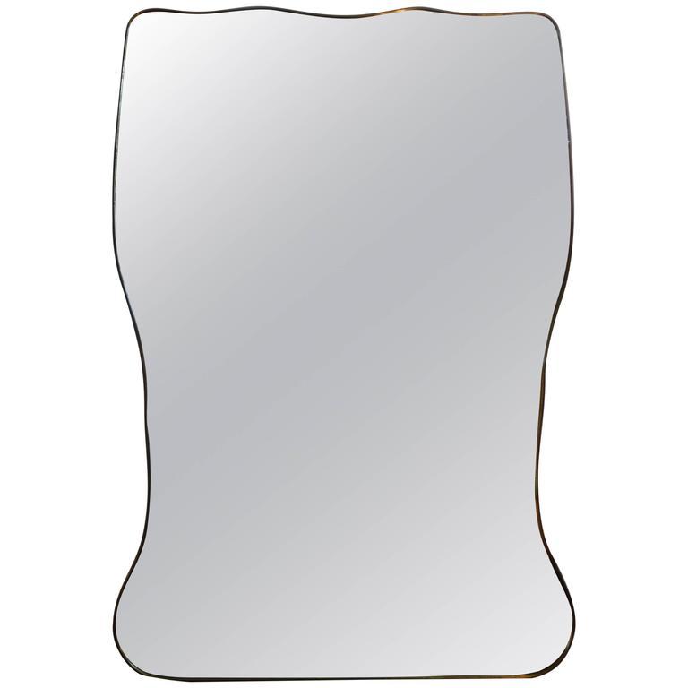 Huge Italian Gio Ponti Inspired Modernist Brass Mirror