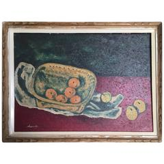 Japan Inviting Fruit & Basket Still Life Vibrant Oil Painting Signd Shuichi 1930